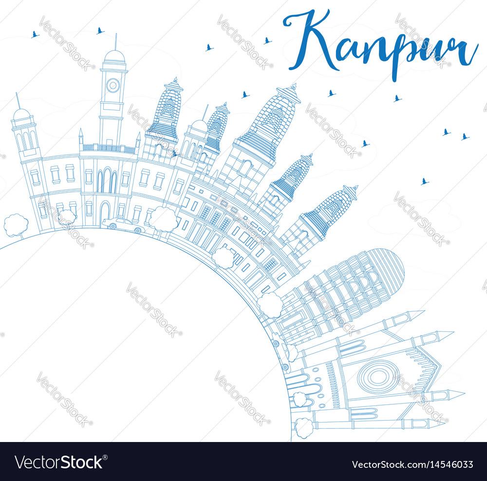 Outline kanpur skyline with blue buildings and