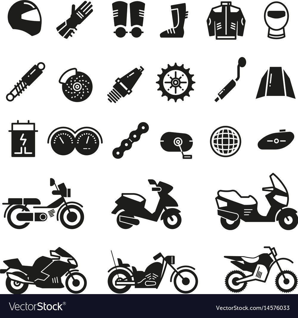 Racing motorcycle motorbike parts and vector image