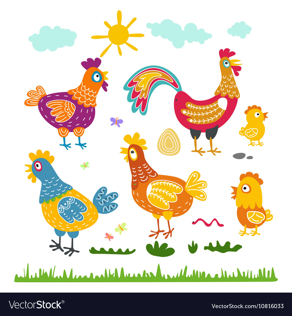 Set hen rooster chicken for children The character