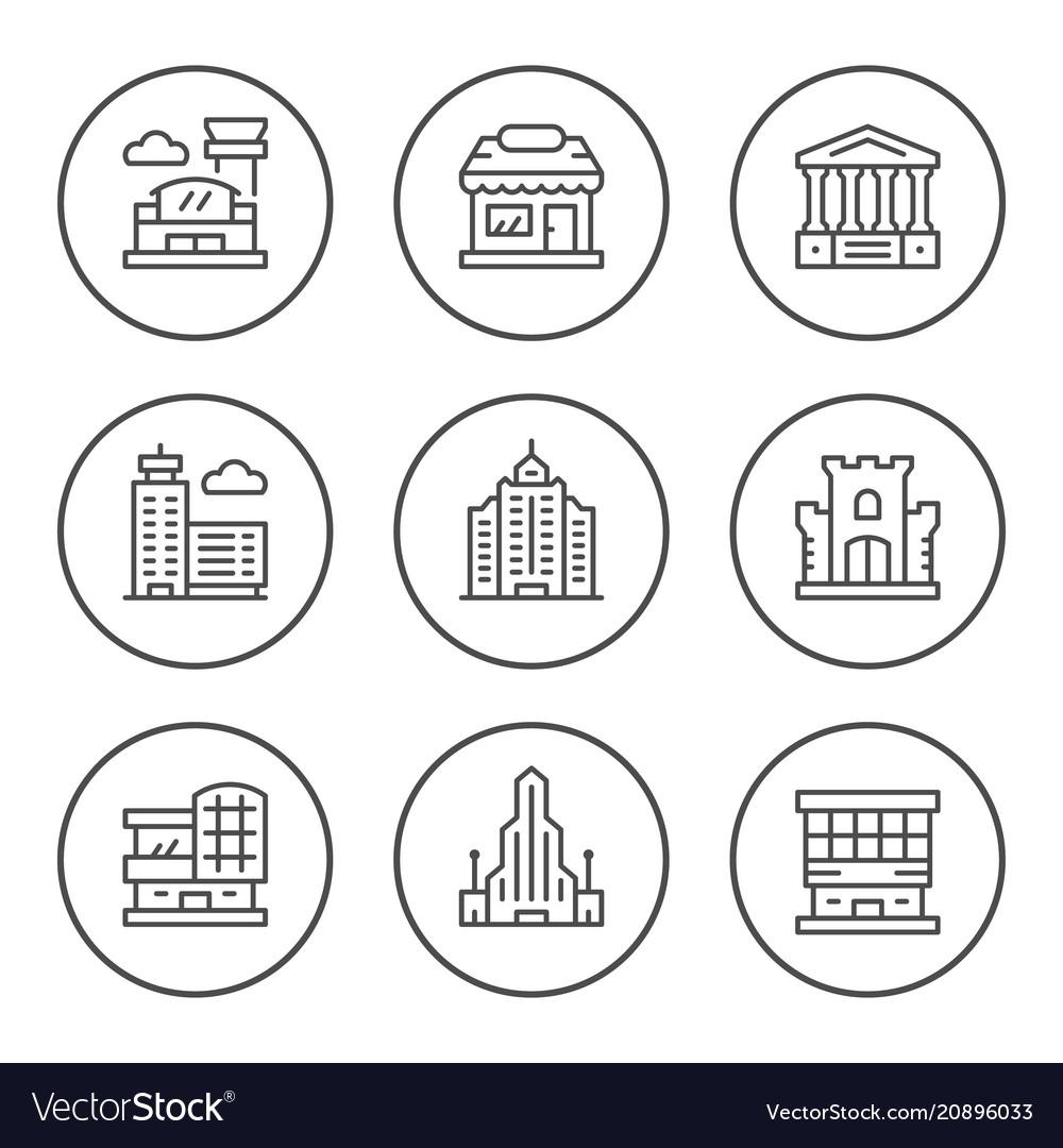 Set round line icons buildings