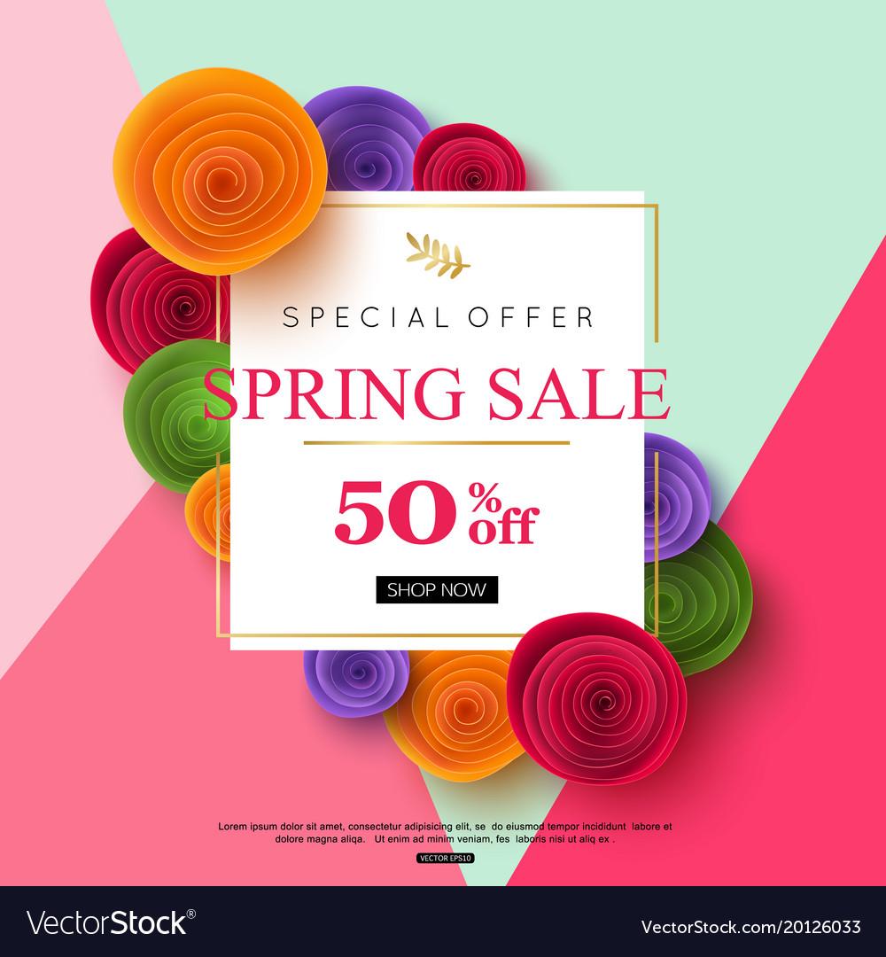 Spring sale banner design vector image