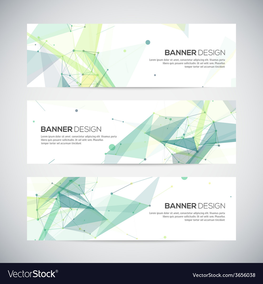 Banners set with polygonal abstract shapes circles vector image