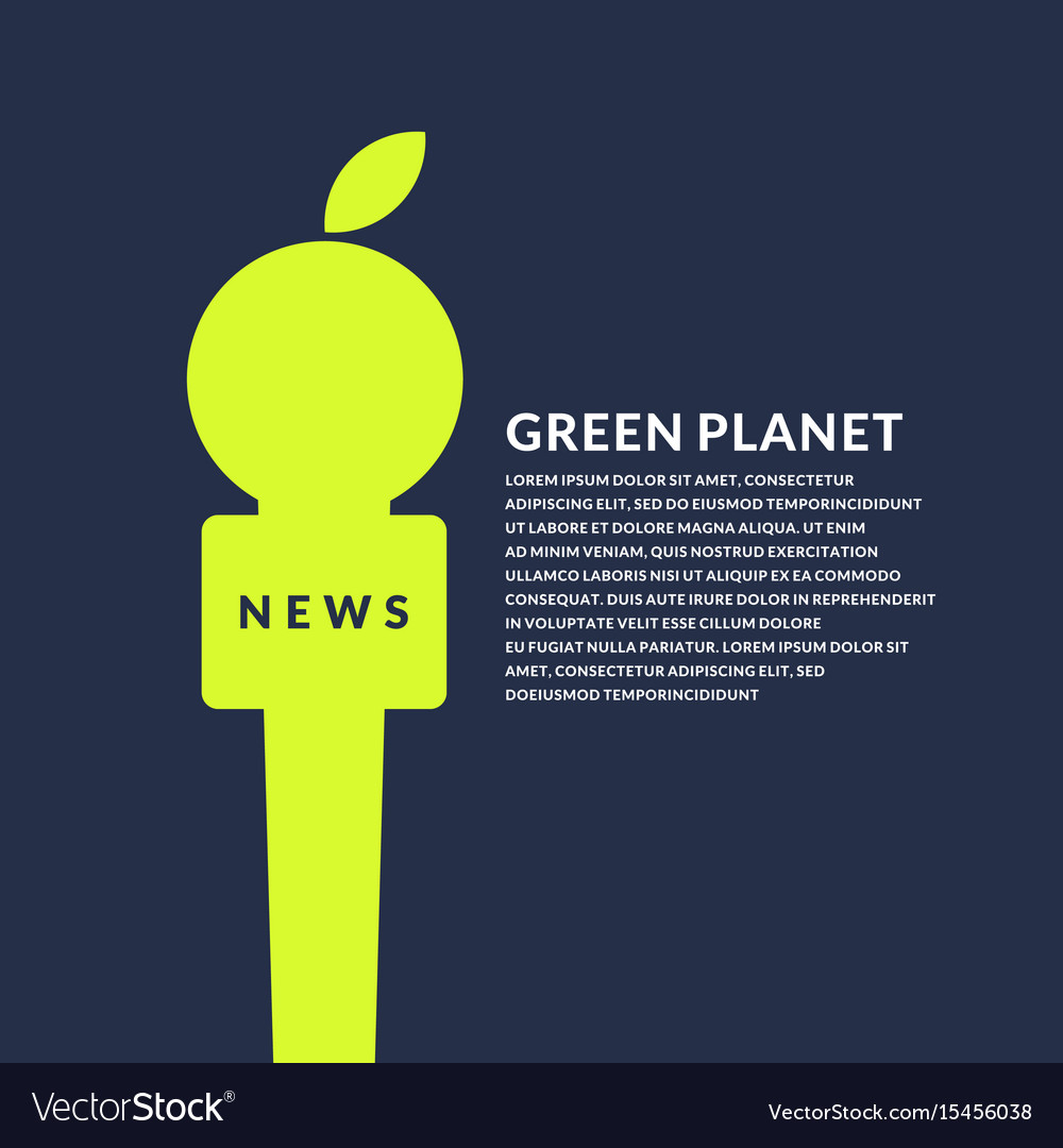 Bright poster with microphone and apple on the eco
