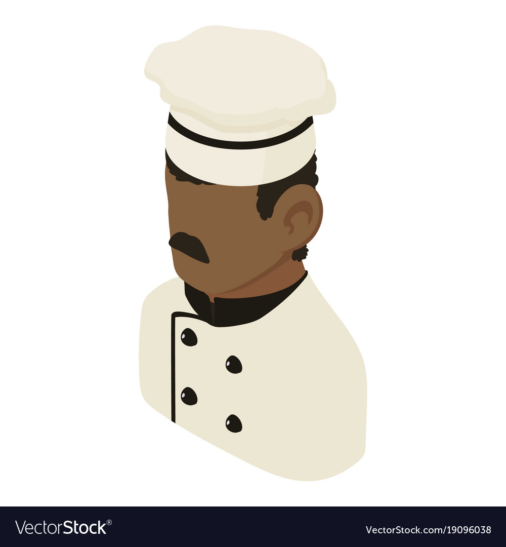Chef man african american icon isometric 3d style