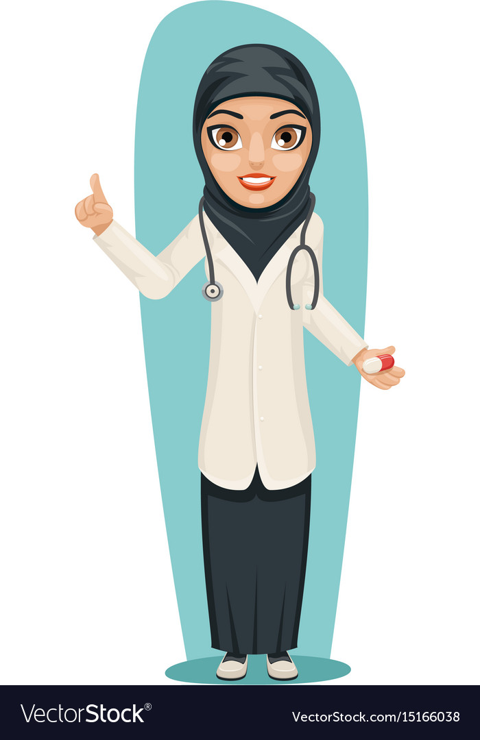 Cute arab doctor with pill medicine in hand vector image