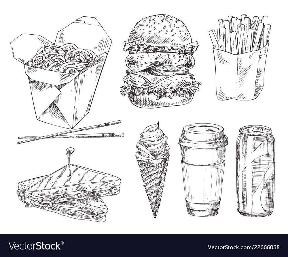 Fast food set hand drawn monochrome sketch