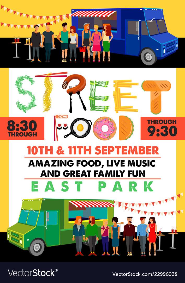 Food festival flyer with food alphabet