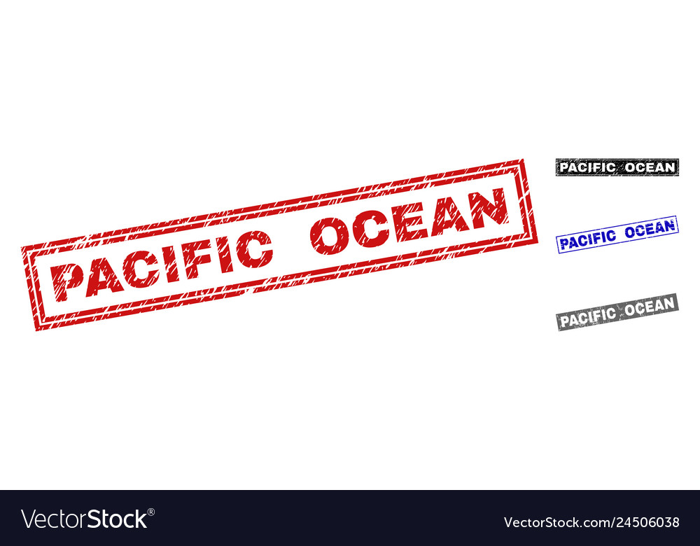 Grunge pacific ocean textured rectangle watermarks