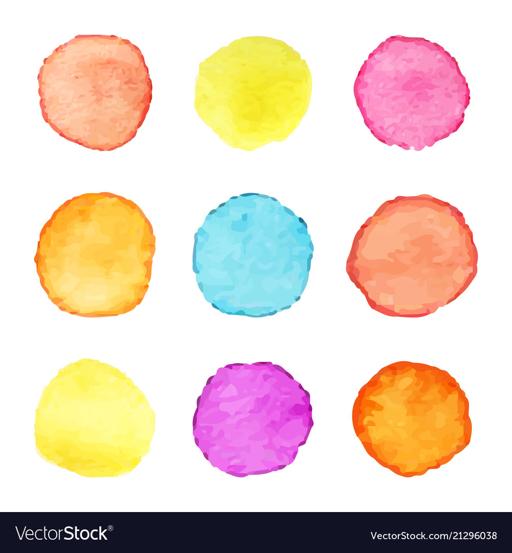 Hand painted watercolor circles set of