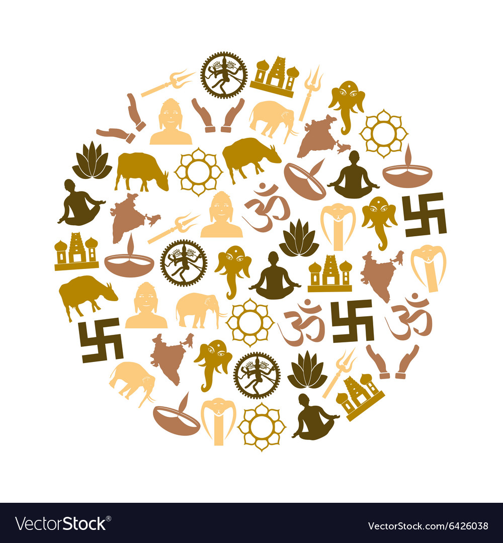Hinduism religions symbols set of icons in circle vector image