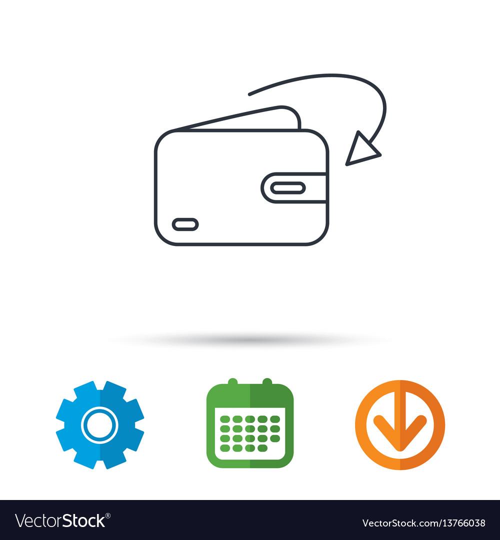 Receive Money Icon Cash Wallet Sign Vector Image