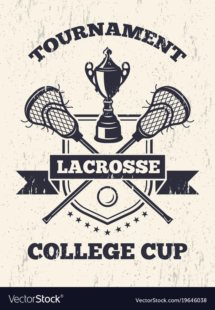 Retro poster of lacrosse theme in sport college