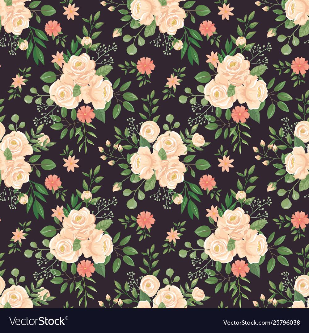 Rose flowers pattern roses black print flower
