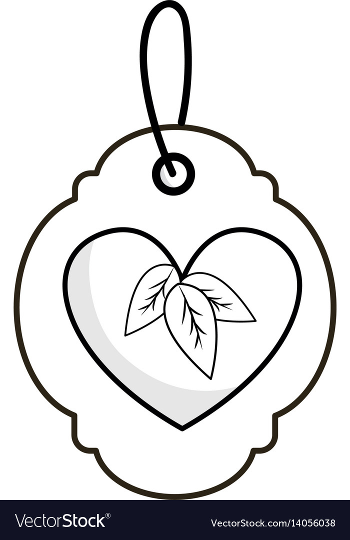 Silhouette label with heart with leaves and ribbon