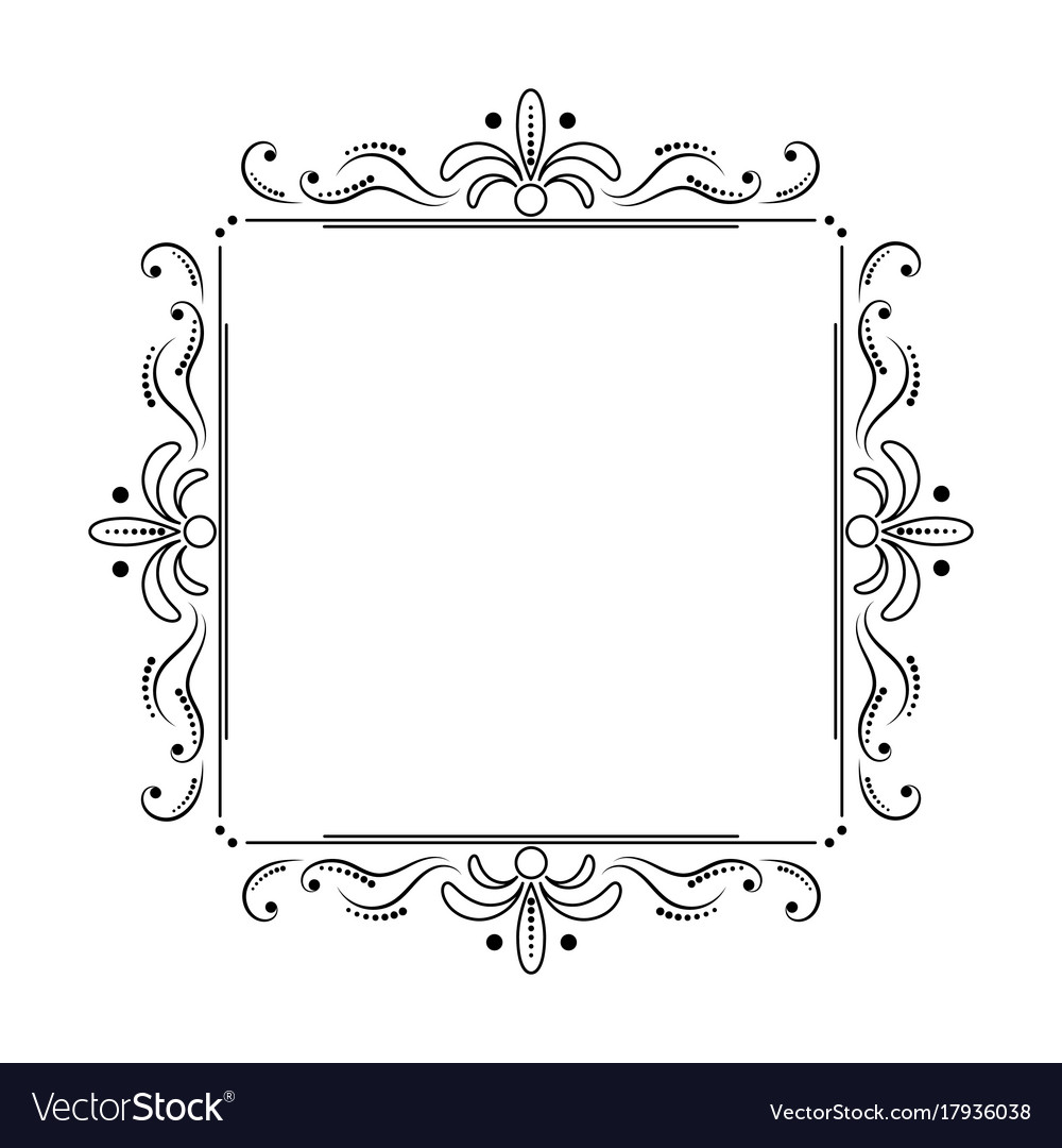 Square black elegant frame with swirls and dots Vector Image
