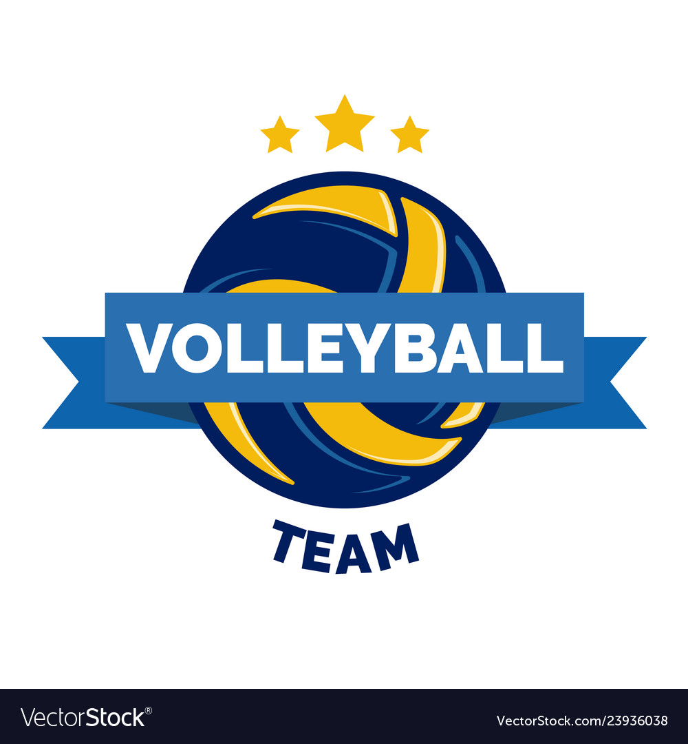 Volleyball logo badge isolated