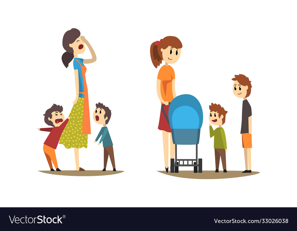 Young mothers walking with little kids set tired