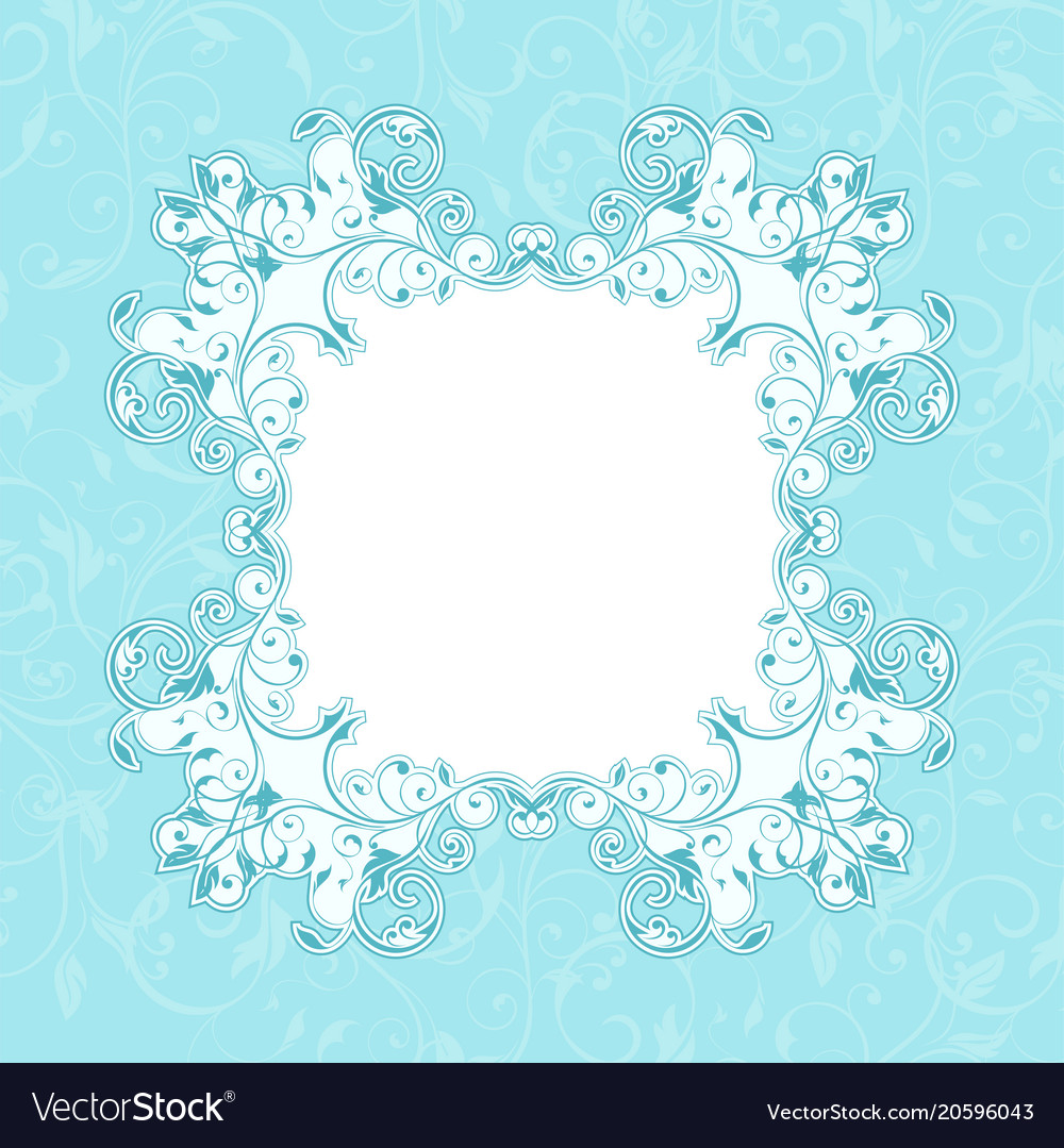Blue floral decorative frame filigree branch