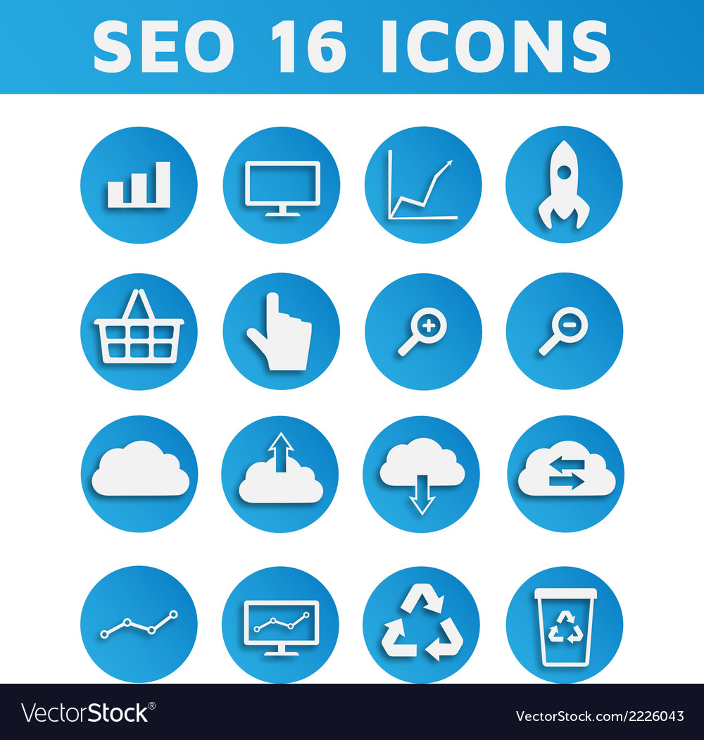 Blue SEO Business Icons Set with Computer Graph