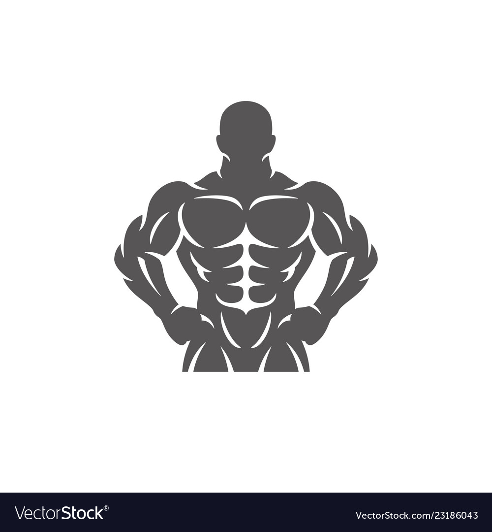 Bodybuilder male silhouette isolated on white