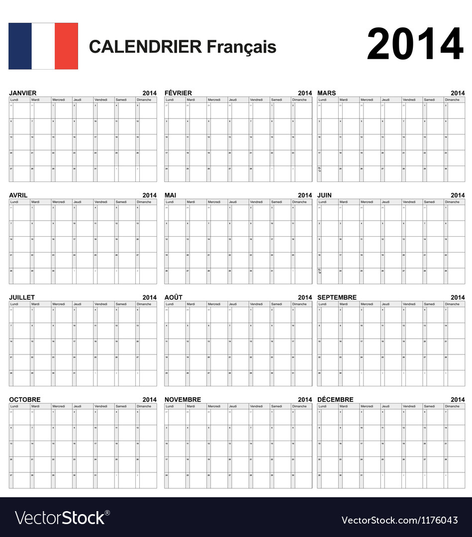 Calendar 2014 French Type 22 Royalty Free Vector Image