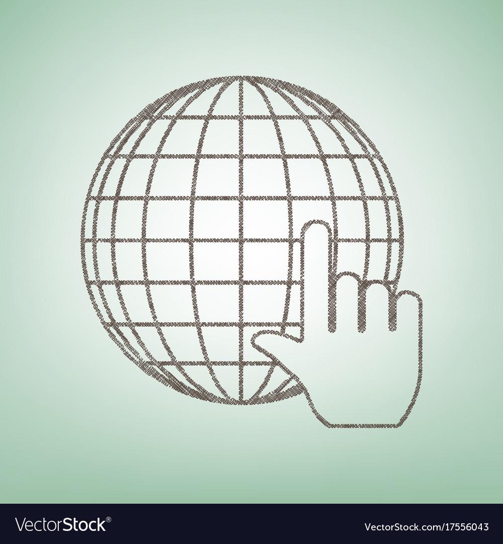 Earth globe with cursor brown flax icon