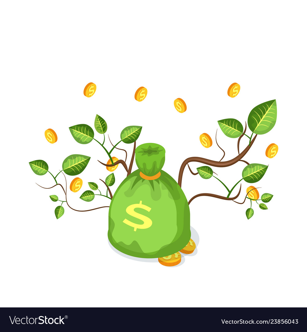 Green money bag with coins and branches
