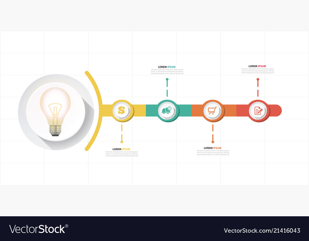 Infographic bulb design four template image