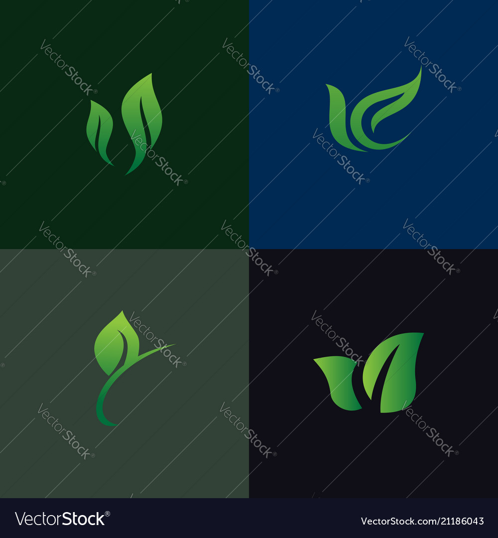 Leaf nature logo set collection environmental and