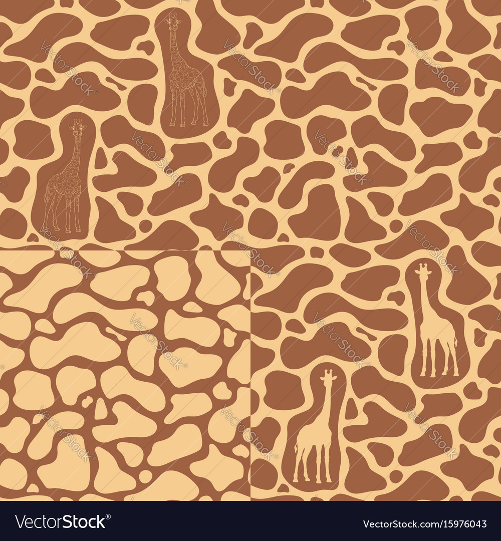 Set of seamless patterns with a giraffe