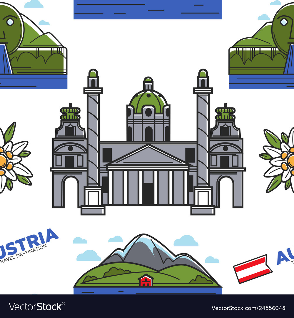 Austria nature and architecture seamless pattern