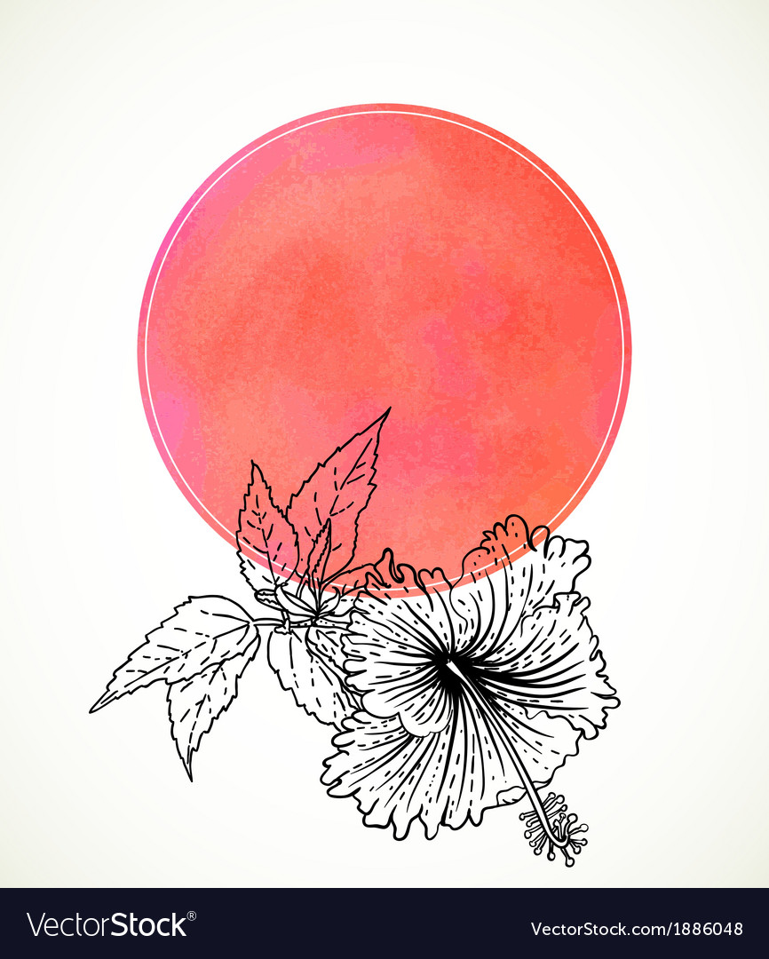 Card with hibiscus on pink watercolor