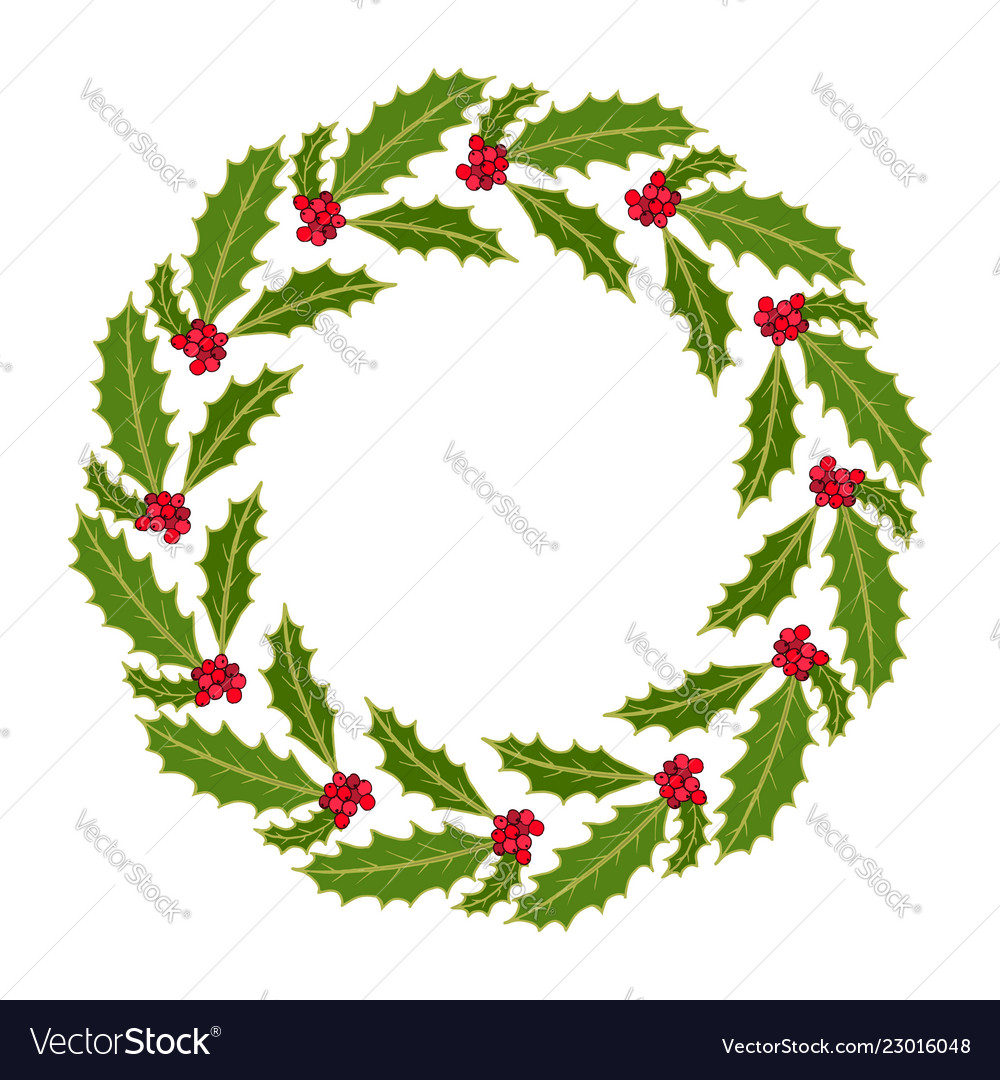 Christmas holly tree wreath with leaves and red