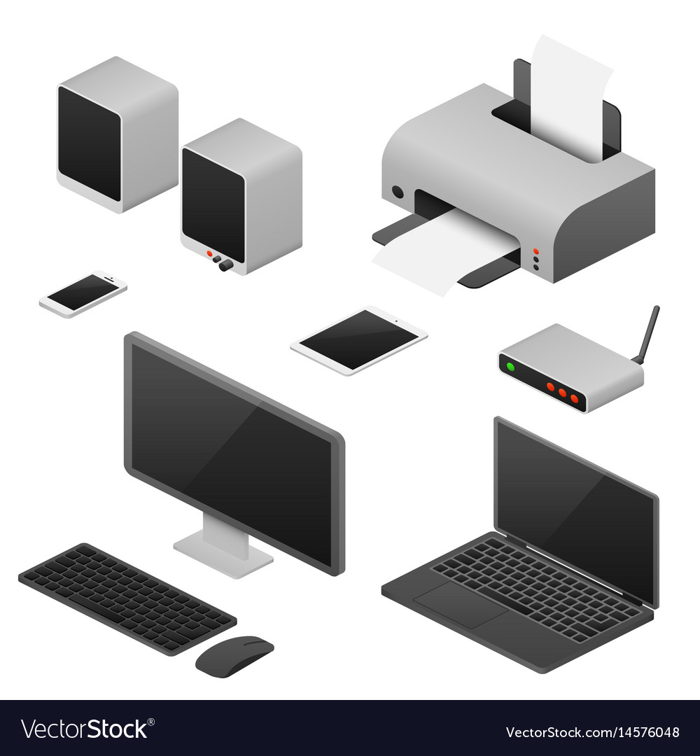 Digital workstation isometric computers vector image
