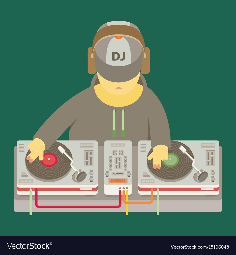 Dj character music musical entertainment flat