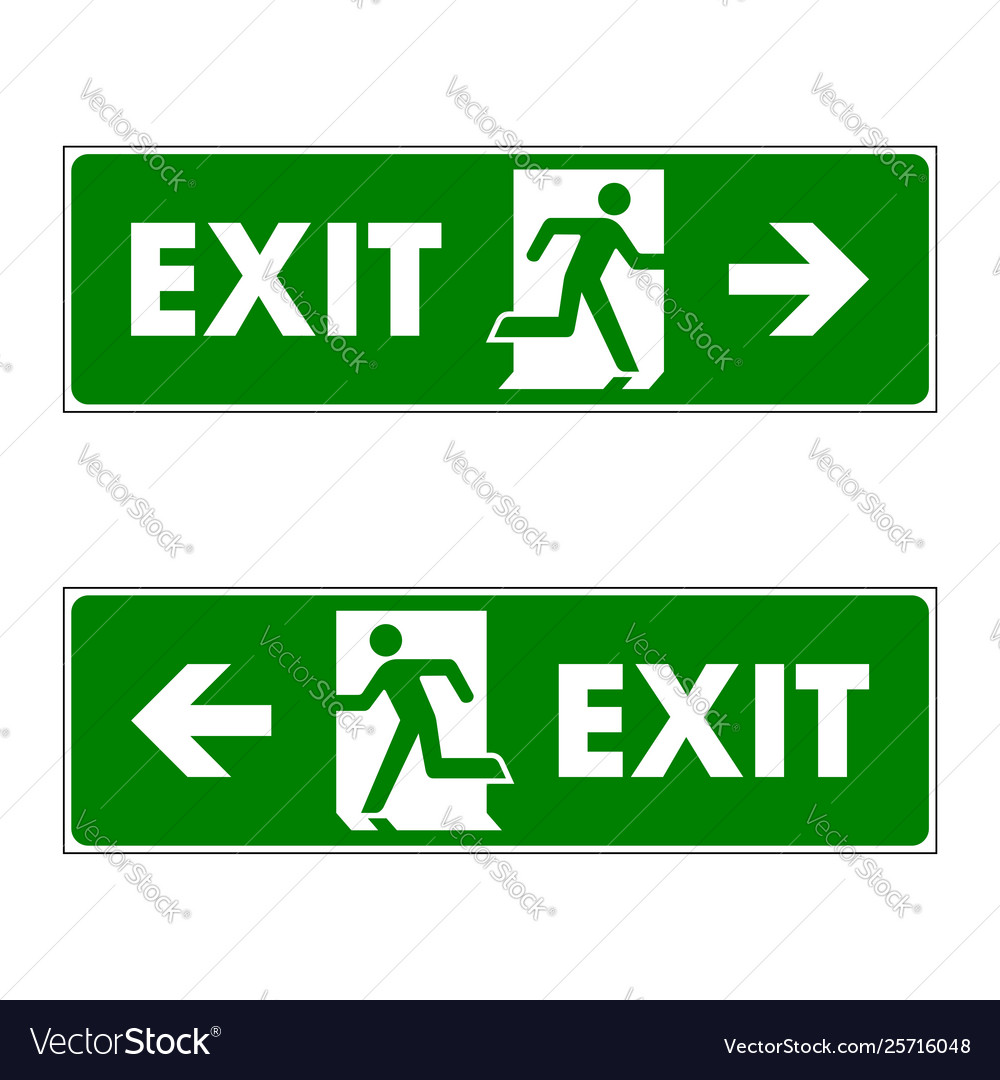 Exit Sign Logo Template Design Royalty Free Vector Image