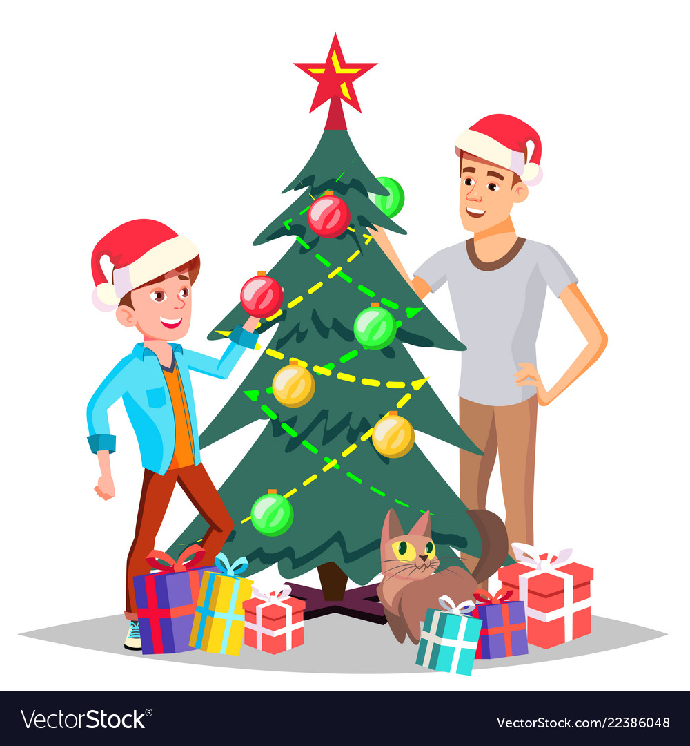 Father with son decorating a christmas tree
