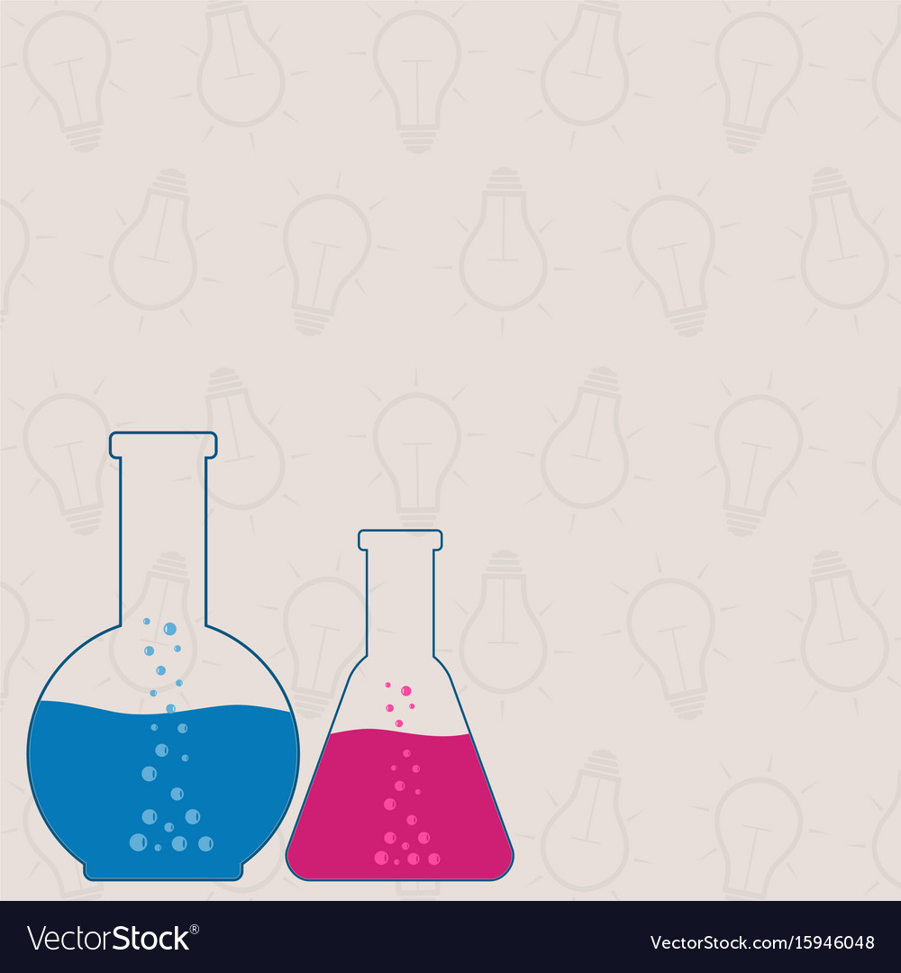 Flasks beakers chemical laboratory equipment on