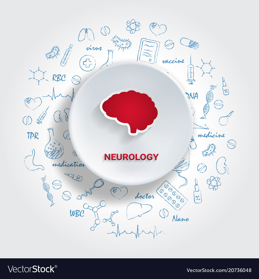 Icons for medical specialties neurology concept