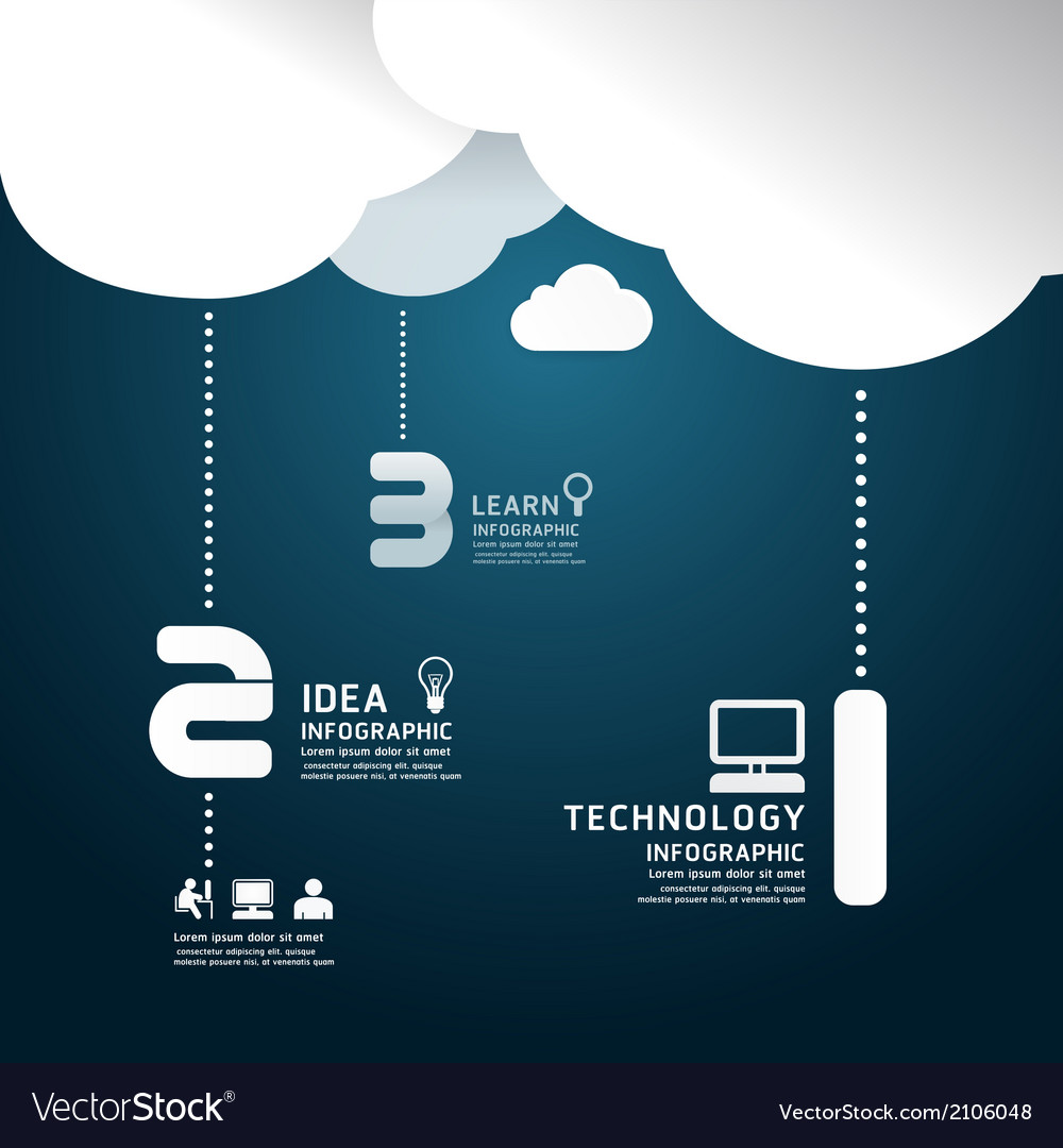 Infographic technology cloud paper cut style