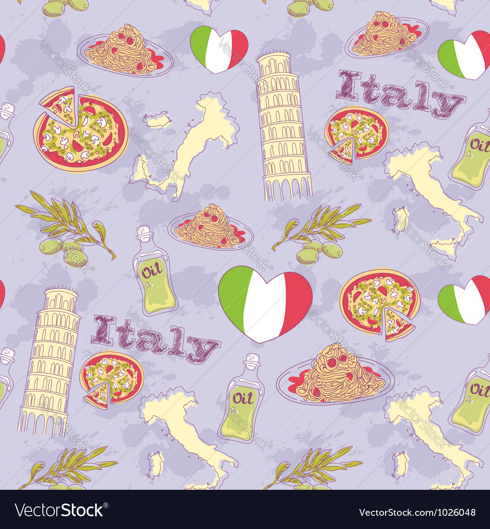 Italy travel grunge seamless pattern