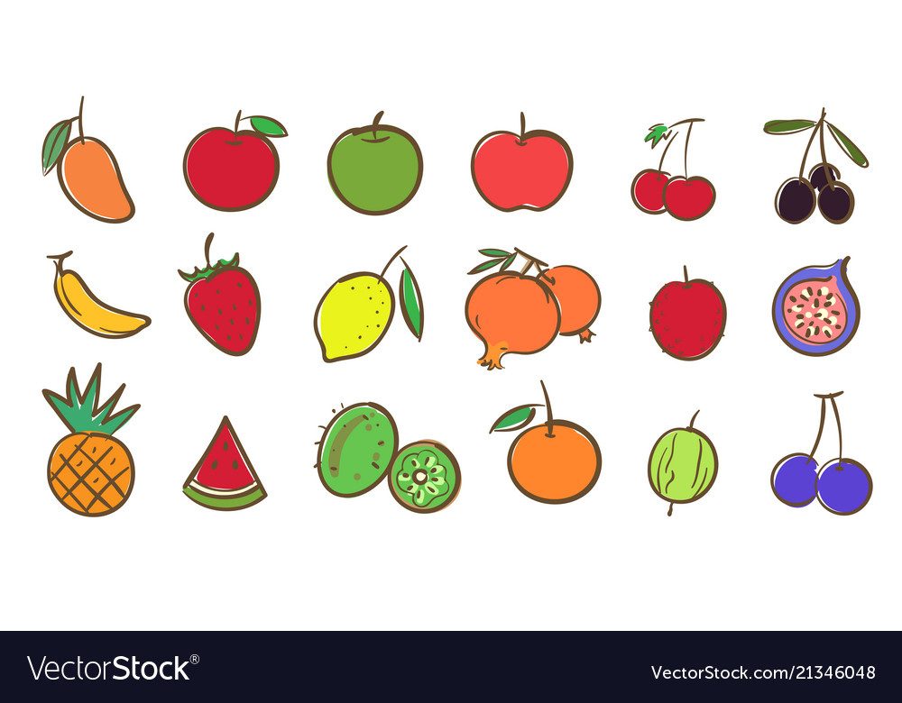 Mix Fruits Collection Cute Colorful