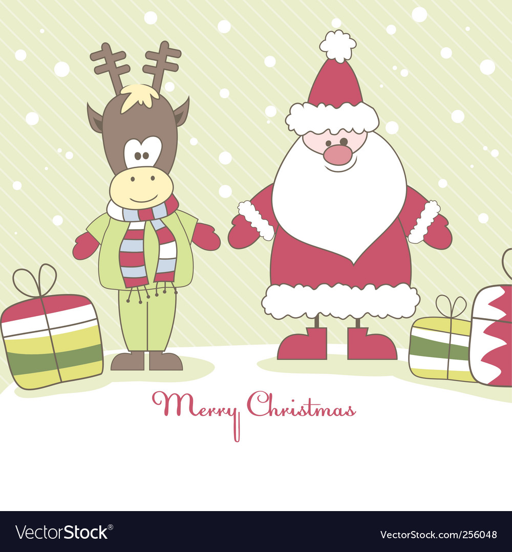 Santa reindeer and gift illustration vector image