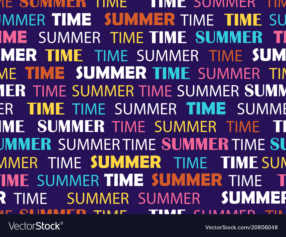 Seamless pattern with words summer time fashion