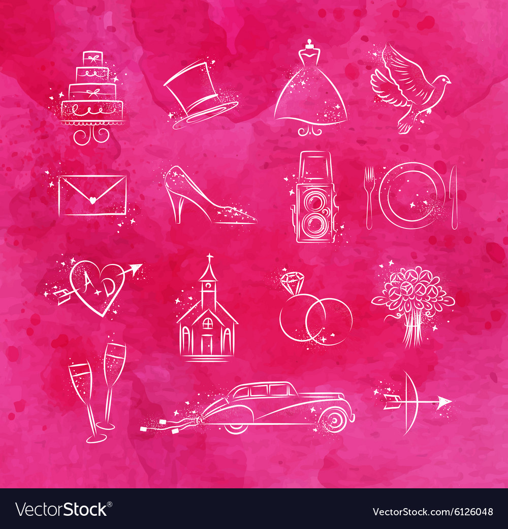 Wedding icons pink