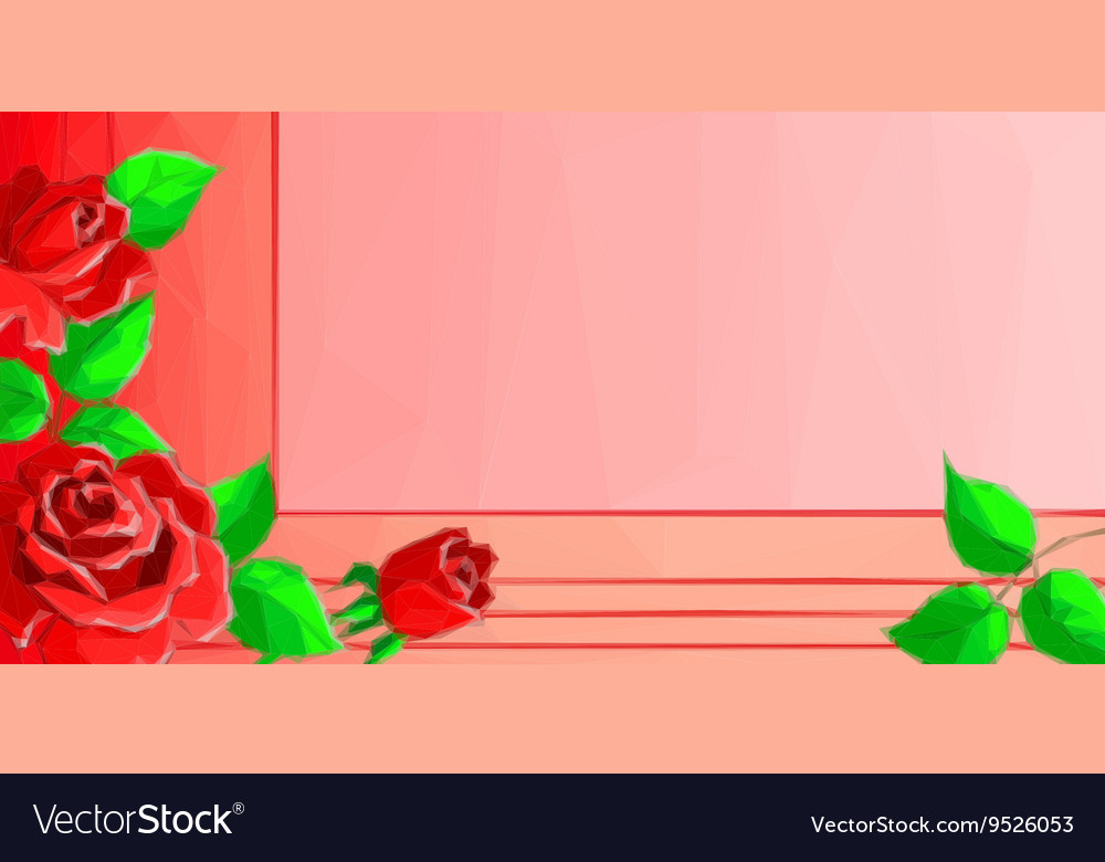 Background with Low Poly Floral Pattern vector image
