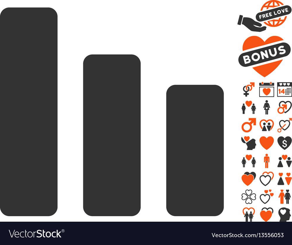 Bar chart decrease icon with lovely bonus vector image