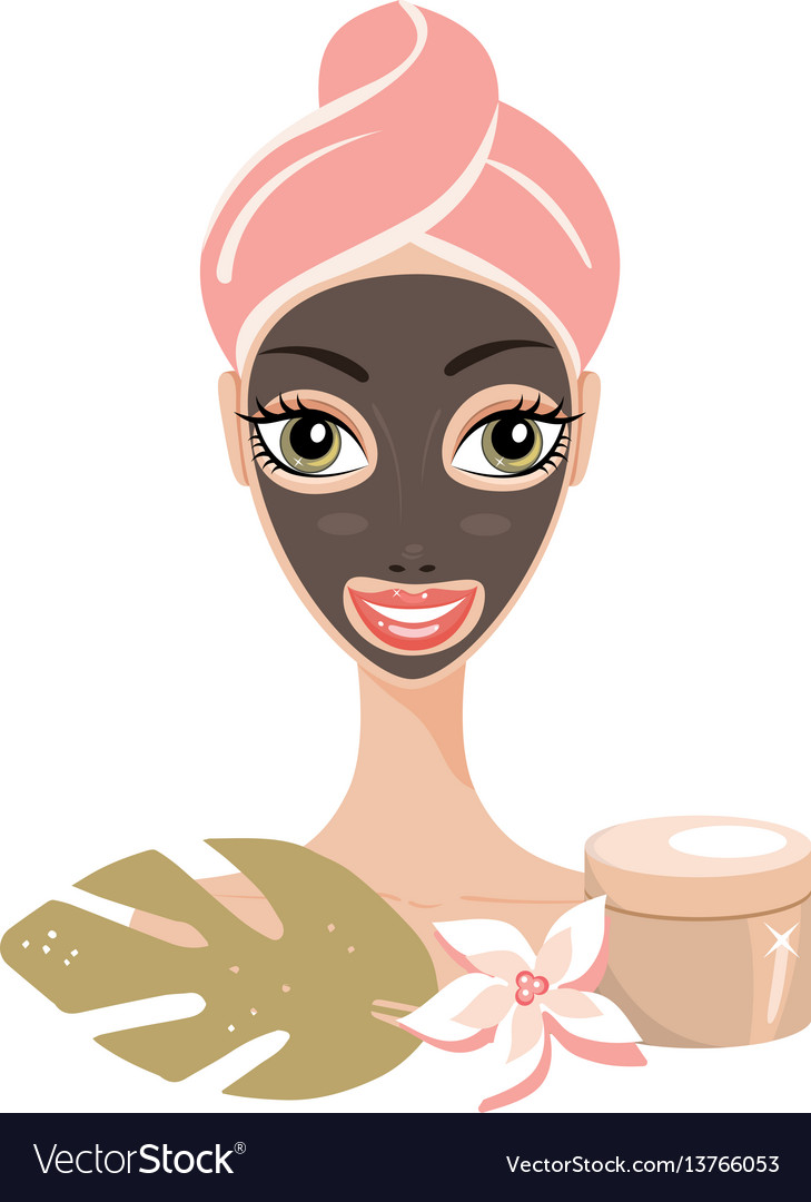 Beautiful happy woman with face mask spa skin care