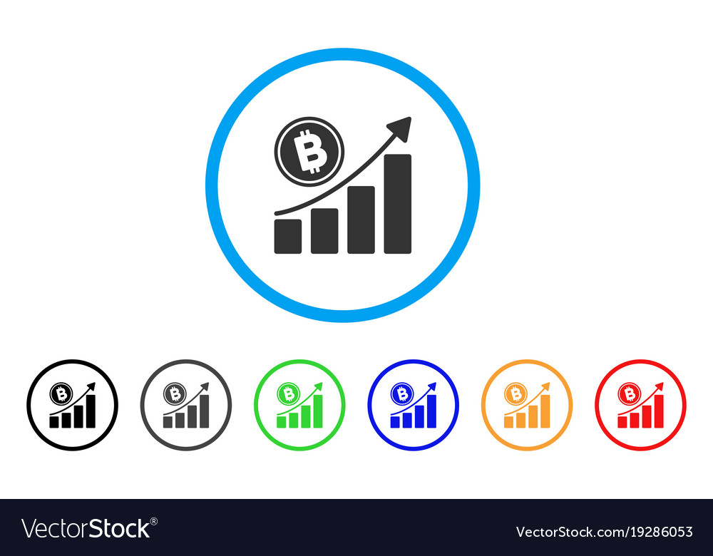 Bitcoin growth trend rounded icon