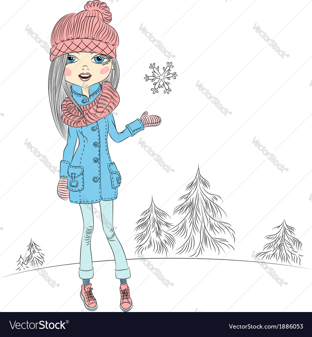 Fashionable hipster girl in winter